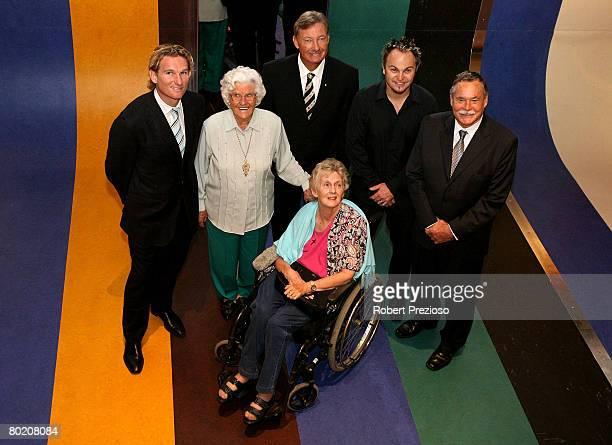 Former Essendon Bomber AFL player James Hird former Australian Women's cricketer Betty Wilson Sports Hall of Fame Chairman John Bertrand former...