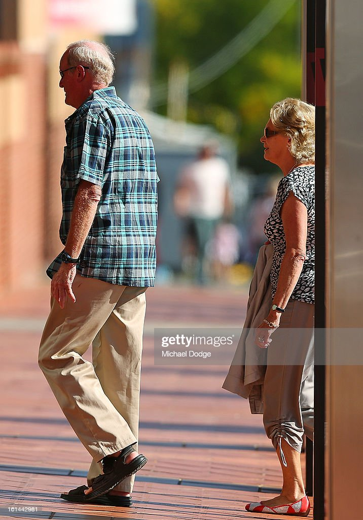 Former Essendon legend Ken Fletcher and wife Rosemary Fletcher arrive ahead of a meeting between Essendon Bombers AFL staff, players and families at Windy Hill on February 11, 2013 in Melbourne, Australia.