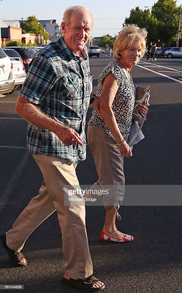 Former Essendon player Ken Fletcher and wife Rosemary Fletcher leave a meeting between Essendon Bombers AFL staff, players and families at Windy Hill on February 11, 2013 in Melbourne, Australia.