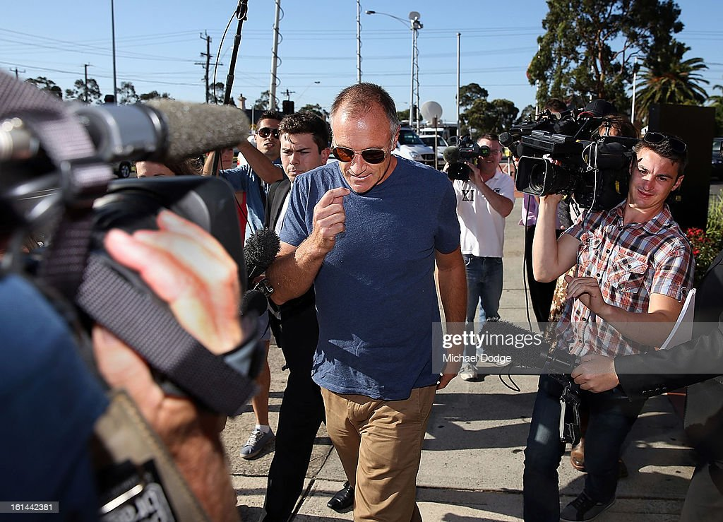 Former Essendon player Tim Watson arrives ahead of a meeting between Essendon Bombers AFL staff, players and families at Windy Hill on February 11, 2013 in Melbourne, Australia.
