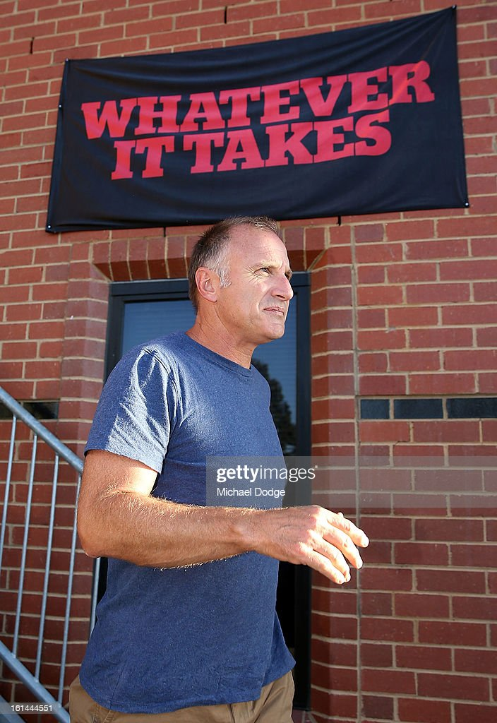Former Essendon player Tim Watson leaves the meeting between Essendon Bombers AFL staff, players and families at Windy Hill on February 11, 2013 in Melbourne, Australia.