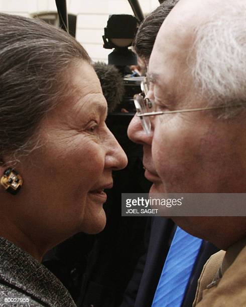 Former European Parliament President and President of the Foundation for the Memory of the Shoah Simone Veil looks at French lawyer Serge Klarsfeld...