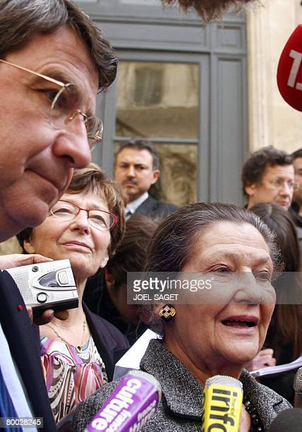 Former European Parliament president and President of the Foundation for the Memory of the Shoah Simone Veil speaks to the press next to French...