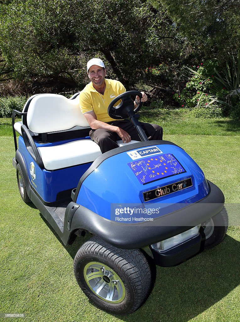 Former European Ryder Cup Captain Jose Maria Olazabal sits on his Captains buggy at the Open de Espana at Parador de El Saler on April 17, 2013 in Valencia, Spain. All the victorious European players have signed the front of the cart for Jose Maria to keep.