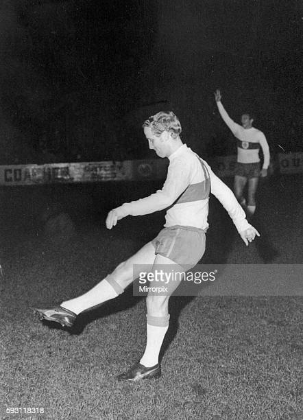 Former Everton man Alex Young prepares to to make his debut for Stockport County in a league match against Luton Town at Edgeleu Park November 1968...