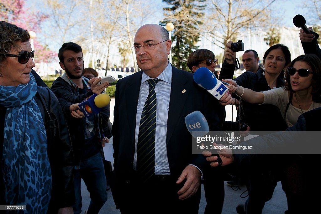 Former executive of Real Zaragoza Francisco Javier Checa arrives at court at the City of Justice as he is investigated with another 41 people in a...