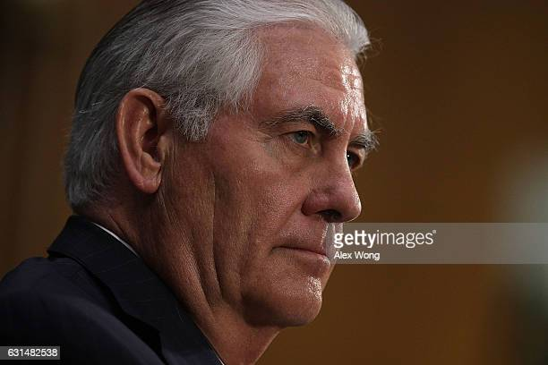 Former ExxonMobil CEO Rex Tillerson US Presidentelect Donald Trump's nominee for Secretary of State testifies during his confirmation hearing before...