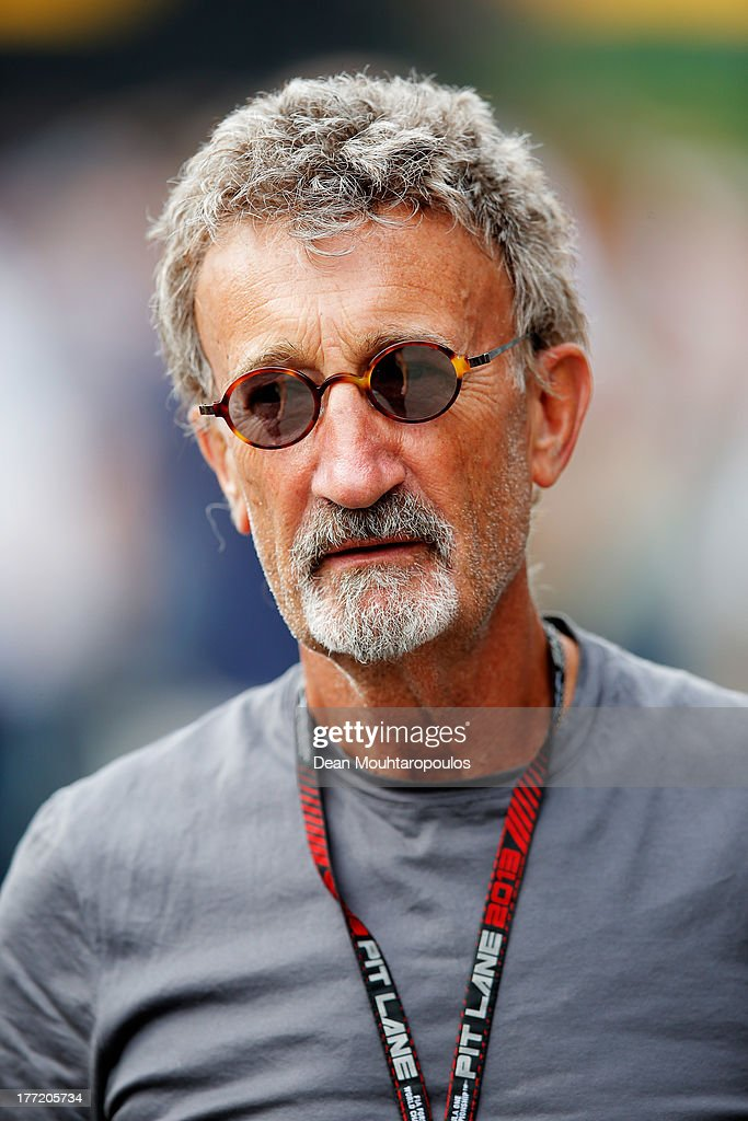 Former F1 team owner and BBC pundit Eddie Jordan is seen in the paddock during previews to the Belgian Grand Prix at Circuit de SpaFrancorchamps on...