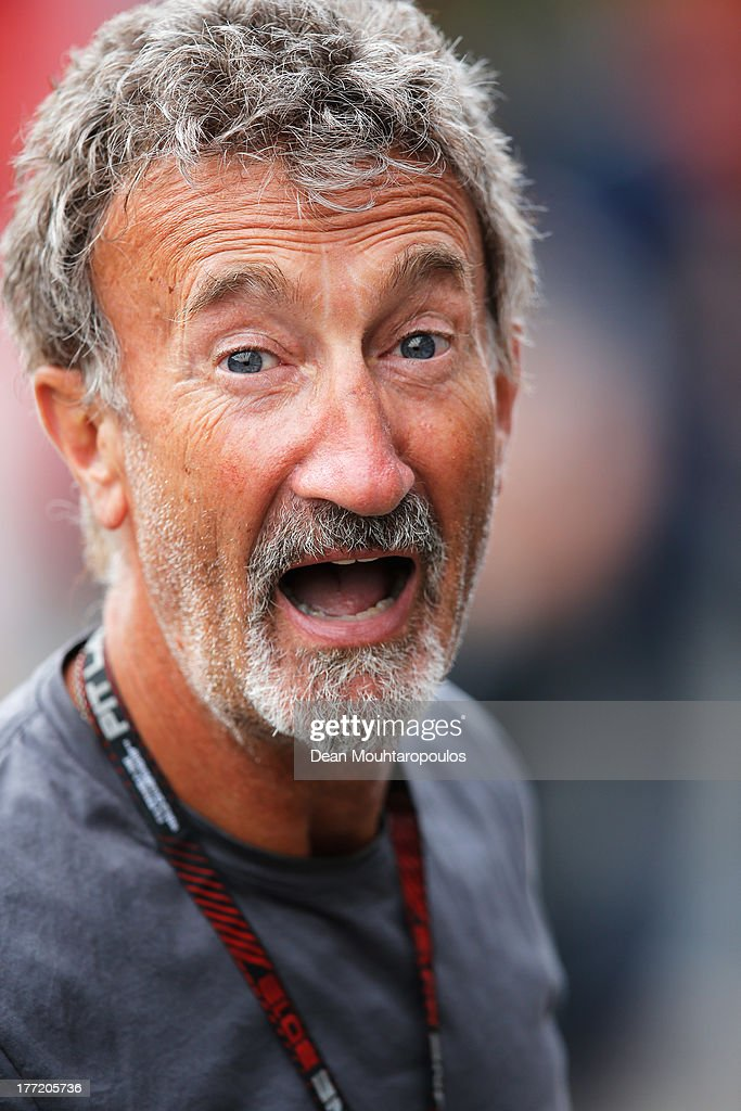 Former F1 team owner and BBC pundit <a gi-track='captionPersonalityLinkClicked' href=/galleries/search?phrase=Eddie+Jordan+-+Motorsport&family=editorial&specificpeople=15229666 ng-click='$event.stopPropagation()'>Eddie Jordan</a> is seen in the paddock during previews to the Belgian Grand Prix at Circuit de Spa-Francorchamps on August 22, 2013 in Spa, Belgium.