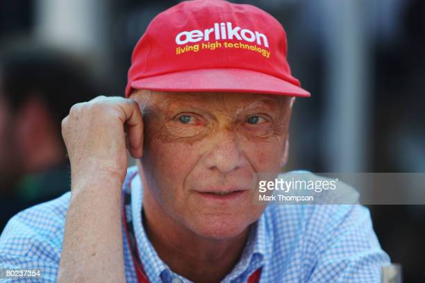 Former F1 World Champion Niki Lauda is seen in the paddock during practice for the Australian Formula One Grand Prix at the Albert Park Circuit on...