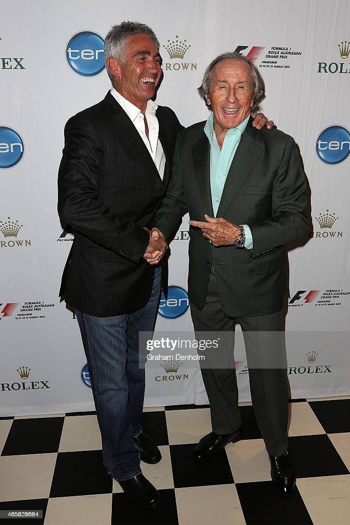 Former F1 World Champion Sir <a gi-track='captionPersonalityLinkClicked' href=/galleries/search?phrase=Jackie+Stewart+-+Race+Car+Driver&family=editorial&specificpeople=167276 ng-click='$event.stopPropagation()'>Jackie Stewart</a> (R) poses with former Grand Prix motorcycle road racing World Champion <a gi-track='captionPersonalityLinkClicked' href=/galleries/search?phrase=Mick+Doohan&family=editorial&specificpeople=604096 ng-click='$event.stopPropagation()'>Mick Doohan</a> during the GP@23 Official Australian Grand Prix Party at Club 23 on March 11, 2015 in Melbourne, Australia.