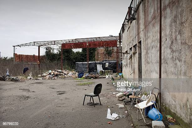 A former factory that served as seasonal housing for many migrants is seen on January 11 2010 in Rosarno Calabria Southern Italy On Thursday January...
