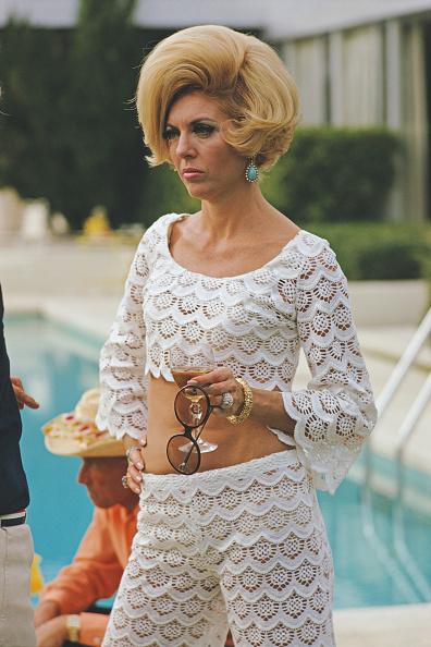 Former fashion model Helen Dzo Dzo at the Kaufmann Desert House in Palm Springs California January 1970