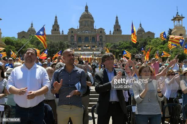Former FC Barcelona's coach Josep Guardiola President of the Catalan regional government Carles Puigdemont President of the Catalan parliament Carme...