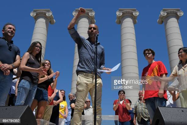 Former FC Barcelona's coach Josep Guardiola speaks during a demonstration named 'Referendum is Democracy' organized by ANC AMI and Omnium Cultural in...