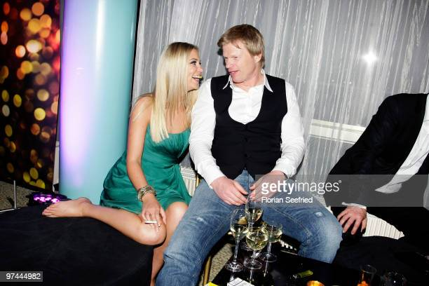 Former FC Bayern goalkeeper Oliver Kahn and model Svenja attend the aftershowparty of the Echo Award 2010 at Messe Berlin on March 4 2010 in Berlin...