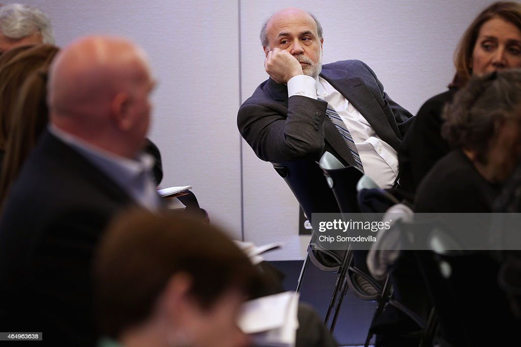 Former Fed Chairman <a gi-track='captionPersonalityLinkClicked' href=/galleries/search?phrase=Ben+Bernanke&family=editorial&specificpeople=568098 ng-click='$event.stopPropagation()'>Ben Bernanke</a> attends and event at the Brookings Institution March 2, 2015 in Washington, DC. Bernanke participated in a series of lectures and discussions as party of a program called 'The Fed in the 21st century: Independence, governance, and accountability.'