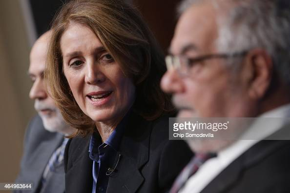 Former Fed Chairman Ben Bernanke Morgan Stanley Chief Financial Officer and Executive Vice President Ruth Porat and former House Financial Services...