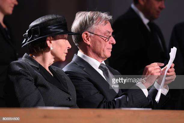 Former Federal President Horst Kohler with his wife Eva Luise attend the requiem for former German Chancellor Helmut Kohl at Speyer cathedral on July...