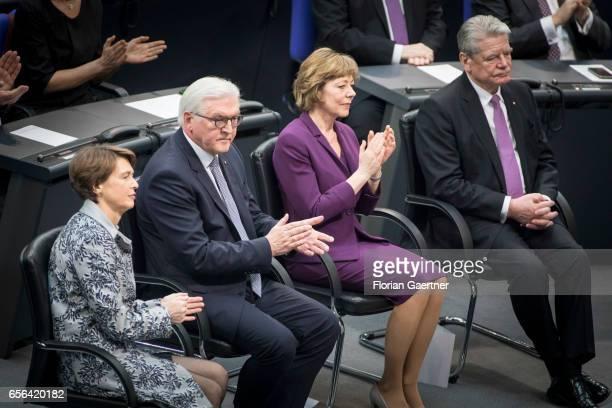Former Federal President Joachim Gauck his partner Daniela Schadt Federal President FrankWalter Steinmeier and his partner Elke Buedenbender are...