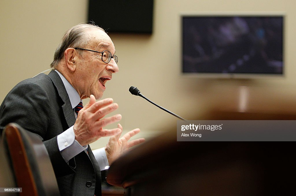Former Federal Reserve Board Chairman Alan Greenspan testifies during a hearing before the Financial Crisis Inquiry Commission April 7 2010 on...