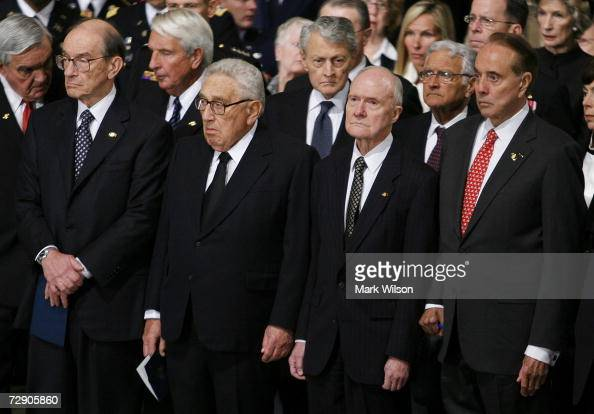 Former Federal Reserve Chairman Alan Greenspan former US Secretary of State Henry Kissinger former National Security Advisor Brent Scowcroft and...