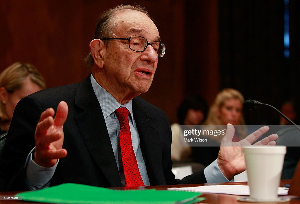Former Federal Reserve Chairman Alan Greenspan testifies during a Senate Homeland Security and Governmental Affairs Committee hearing on Capitol Hill...