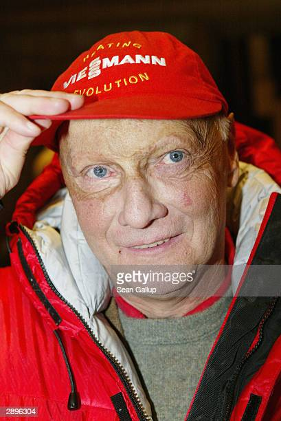 Former Ferrari driver and triple Formula One world champion Niki Lauda attends the Audi Evening at Hotel Tenne during the Hahnenkamm Ski Races on...