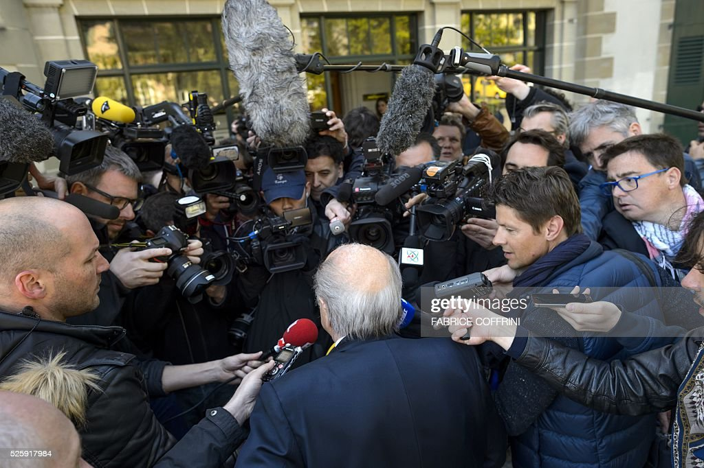 Former FIFA president Sepp Blatter arrives to the Court of Arbitration for Sport for the appleal of Michel Platini's against his six-year FIFA ban for ethics violations on April 29, 2016 in Lausanne. Platini has been sanctioned over an infamous two million Swiss franc ($2 million, 1.8 million euro) payment he received in 2011 from then-FIFA president Sepp Blatter. / AFP / FABRICE