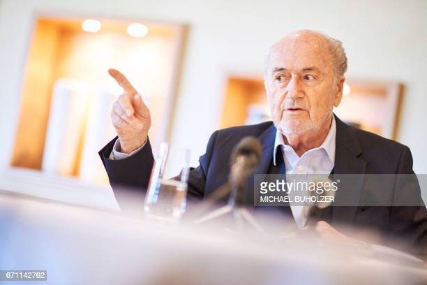 Former FIFA president Sepp Blatter gestures as he gives an interview to news agencies on April 21 2017 in Zurich / AFP PHOTO / Michael Buholzer