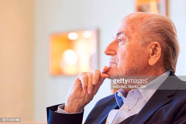 Former FIFA president Sepp Blatter gives an interview to news agencies on April 21 2017 in Zurich / AFP PHOTO / Michael Buholzer