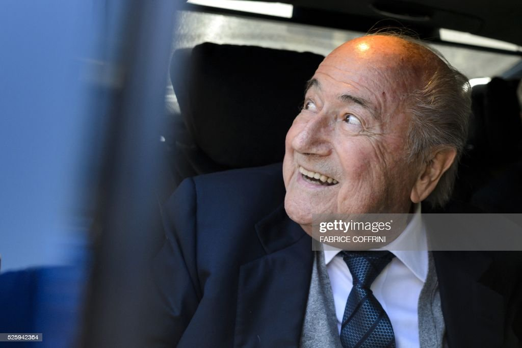 Former FIFA president Sepp Blatter leaves the Court of Arbitration for Sport during the appleal of Michel Platini's against his six-year FIFA ban for ethics violations on April 29, 2016 in Lausanne. Platini has been sanctioned over an infamous two million Swiss franc ($2 million, 1.8 million euro) payment he received in 2011 from then-FIFA president Sepp Blatter. / AFP / FABRICE