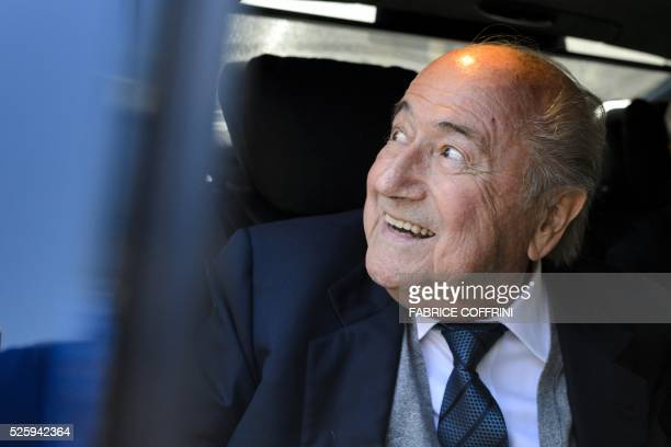 Former FIFA president Sepp Blatter leaves the Court of Arbitration for Sport during the appleal of Michel Platini's against his sixyear FIFA ban for...