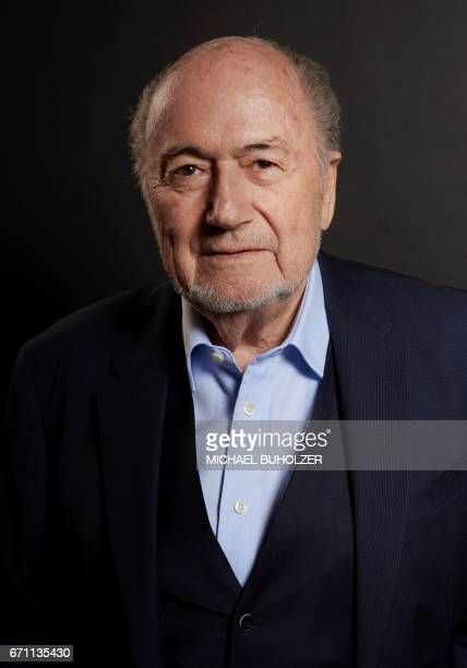 Former FIFA president Sepp Blatter poses during a photo session after an interview with news agencies on April 21 2017 in Zurich / AFP PHOTO /...