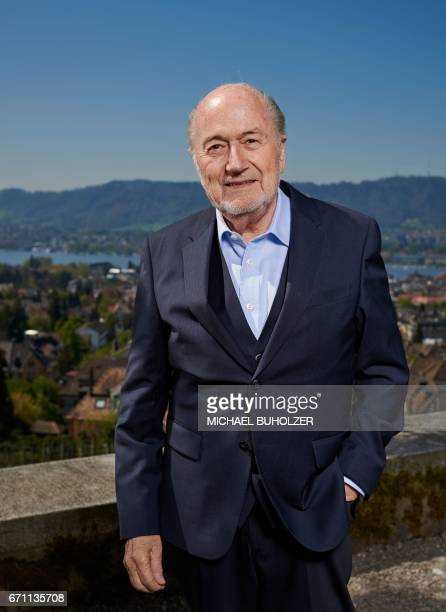 Former FIFA president Sepp Blatter poses during a photo session past the city of Zurich after an interview with news agencies on April 21 2017 in...