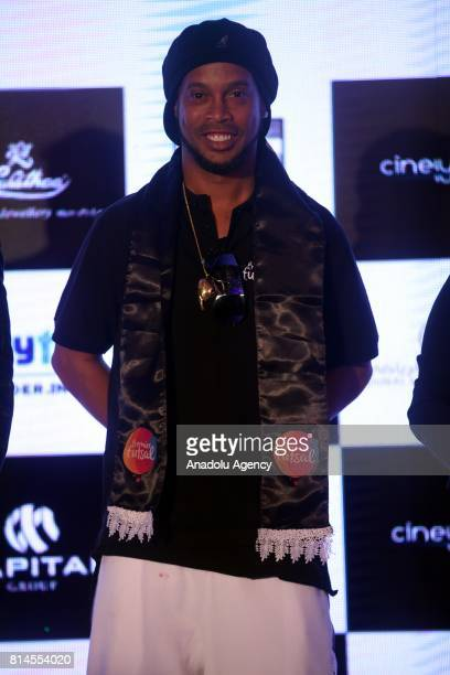 Former FIFA World Brazilian professional footballer Ronaldinho pose for a photo during a press conference to announce the second season of the...