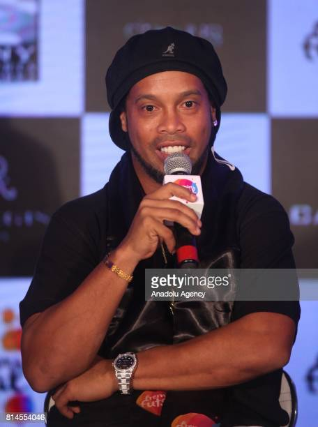 Former FIFA World Brazilian professional footballer Ronaldinho speaks during a press conference to announce the second season of the Premier Futsal...