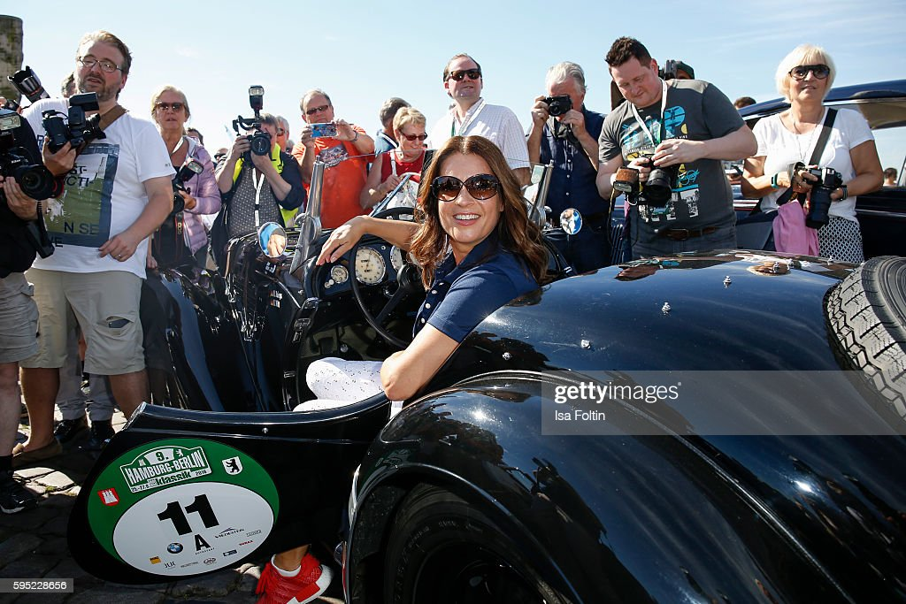 Former figure skater Katarina Witt (drives a BMW 328 from 1937) attends the first day of the Hamburg-Berlin Klassik Rallye on August 25, 2016 in Hamburg, Germany.
