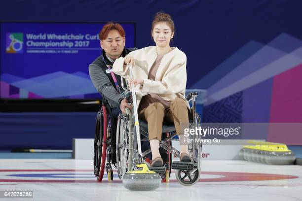 Former figure skater Yuna Kim attends during the PyeongChang 2018 Paralympic Day and Opening of the World Wheelchair Curling Championship 2017 at...