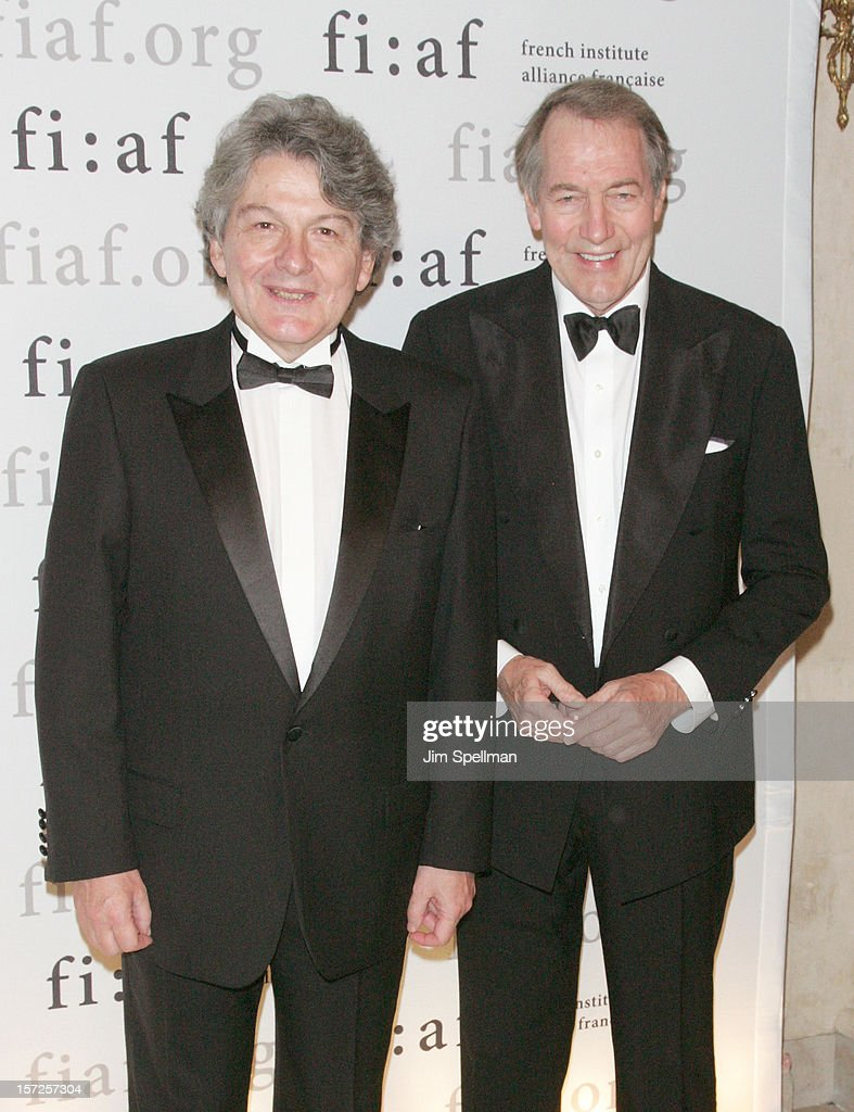 Former Finance Minister of France <a gi-track='captionPersonalityLinkClicked' href=/galleries/search?phrase=Thierry+Breton&family=editorial&specificpeople=536439 ng-click='$event.stopPropagation()'>Thierry Breton</a> and broadcast journalist <a gi-track='captionPersonalityLinkClicked' href=/galleries/search?phrase=Charlie+Rose&family=editorial&specificpeople=535420 ng-click='$event.stopPropagation()'>Charlie Rose</a> attend the 2012 Trophee Des Arts Gala at The Plaza Hotel on November 30, 2012 in New York City.