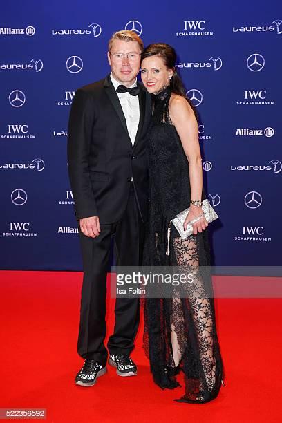Former Finnish Formula 1 champion Mika Hakkinen and partner Marketa Ramesova attend the Laureus World Sports Awards 2016 on April 18 2016 in Berlin...