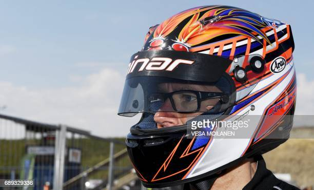 Former Finnish Formula One driver Jyrki Jarvilehto formerly known as JJ Lehto is pictured before he was injured during the time trials of the Finnish...