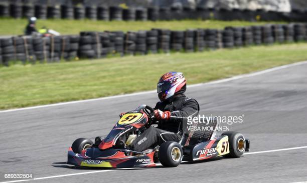 Former Finnish Formula One driver Jyrki Jarvilehto formerly known as JJ Lehto competes before he was injured during the time trials of the Finnish...