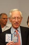 Former first deputy managing director of the International Monetary Fund Stanley Fischer holding his newly acquired Israeli ID at the Interior...