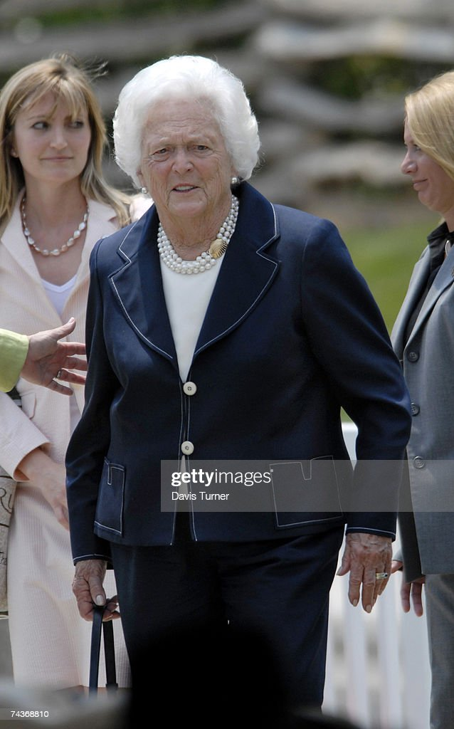 Former First Lady Barbara Bush arrives at the Billy Graham Library Dedication Service on May 31 2007 in Charlotte North Carolina Approximately 1500...