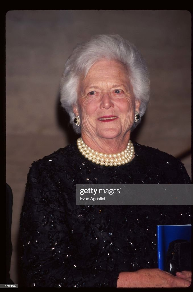 Former First Lady Barbara Bush attends an evening of readings and a gala dinner dance hosted by Literacy Partners April 29 1996 in New York City...