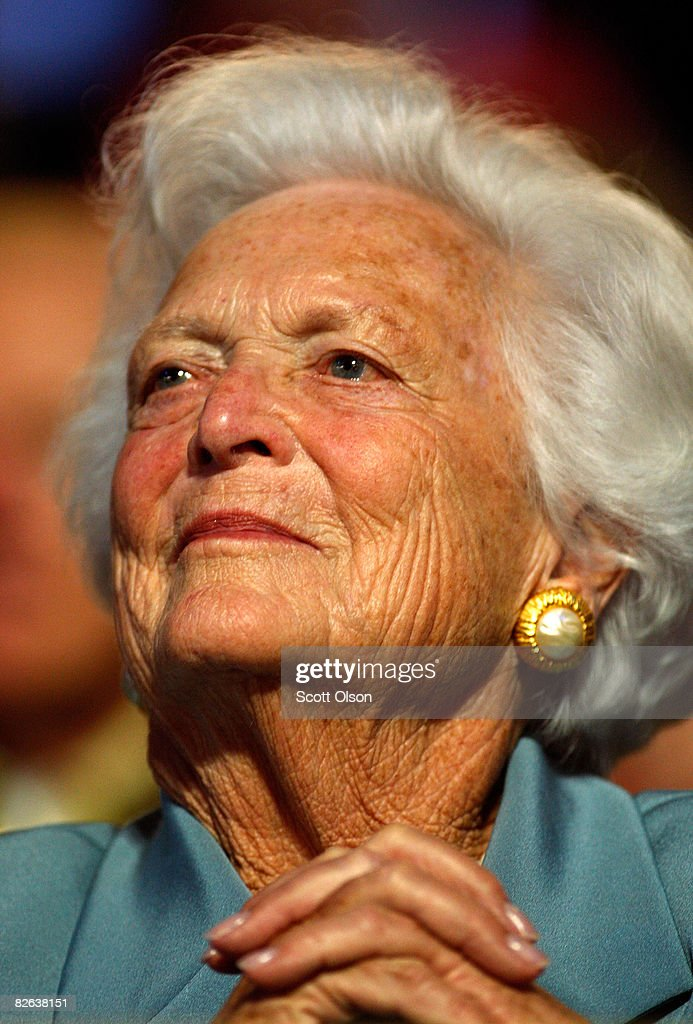Former first lady Barbara Bush attends day two of the Republican National Convention at the Xcel Energy Center on September 2 2008 in St Paul...