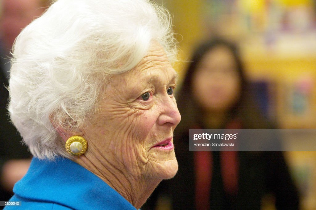 Former first lady Barbara Bush greets people at Barns and Noble in Washington during a meet and greet coinciding with the release of her new book...
