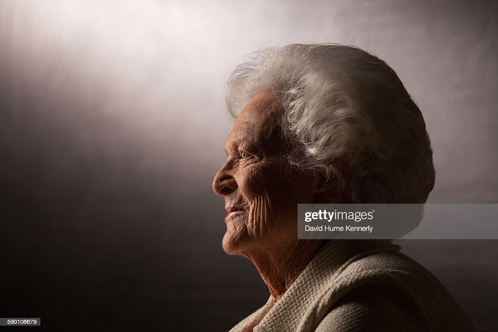 Former First Lady Barbara Bush is interviewed for 'The Presidents' Gatekeepers' project about the White House Chiefs of Staff at the Bush Library...