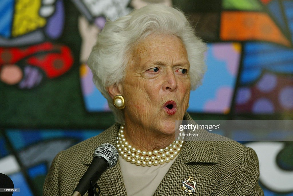 Former first lady Barbara Bush speaks about her new book 'Reflections Life After the White House' at the Biltmore Hotel brunch to benefit the Miami...